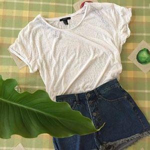NWOT Light and Airy White Polka Dot T-Shirt